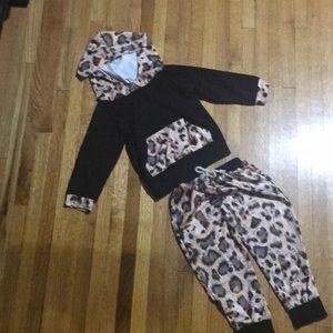 Black Hoodie Track Suit with Milk Silk Leopard